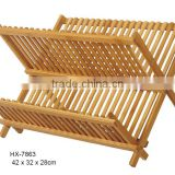 New Product for 2017 Moso Bamboo Folding Dish Rack/Drainer