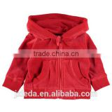 Best selling winter heavy velour full zip hooded coat baby girls, baby kids wear custom