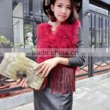 Women Clothes Rabbit Fur Tassels Turkey Wholesale Feather Vest