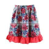 2017 wholesale new design red skirts floral print skirt ruffle skirt for baby girls