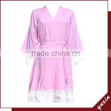 Pink In stock supply rayon bridal lace cotton robe Wedding Bride Bridesmaid robe with lace LR0103