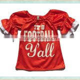 2017 hot sale icing ruffle t shirts red puff sleeve jersey football boutique raglan