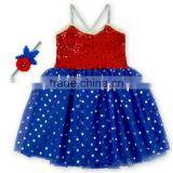 Wholesale 4th of July Sparkle Children Girls Dress Patriots' Day Sequin Baby Dress M6033104