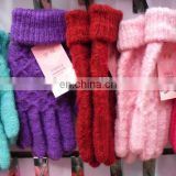 Lady knit acrylic full finger gloves