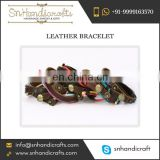 Trusted Exporter Supplying Elegant Leather Bracelet with Strings for Very Cheap Amount