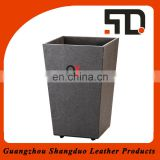 China Supplier Top Handmade Custom Wholesale Faux Leather Waste Bin