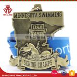 Custom 3D Design Senior Champs USA Swimming Medal in Antique Finish