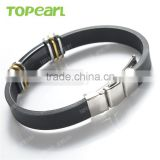 Topearl Jewelry High Quality Batman Stainless Steel Black Rubber Men Bracelet MEB234