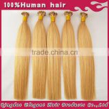 Double drawn blonde straight hair 2015 best selling keratin fusion tip 100% remy human hair extension