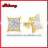 wholesale cubic zircon kite style screw back gold micro pave silver earrings