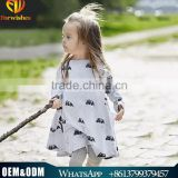 Whosale spring & autumn girl pure cotton dress children cartoon pattern casual dress for 2-10 years old kids wear