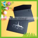 Elegant high quality paperboard pocket black envelope with silver foil hot stamping
