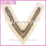 Garment accessory Deep V Shape trims,Cheap OEM/ODM Plastic Beads Handmade Sew on Net Cloth Collar Neck Lady Designs
