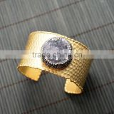 LFD-B0040 Gold Plated Pave Rhinestone Crystal Natural Drusy Agate Geode Druzy Gemstone Cuff Bangle Bracelets