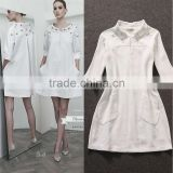 2014 Latest fashion autumn-winter hot selling turn-down collar beaded loose few-girl pattern garment white dresses women