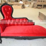 Black and red chaise lounge / french antique louis chaise lounge XYN403