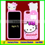 Hello kitty design cheap Silicone 3d phone case cover for Iphone 6 4.7 phone back cover