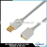 Xinya hot selling gold plated A/M to A/F USB cable fashion sliver gray USB cable for Data transmission