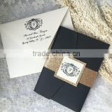 Charming navy glitter paper wedding invitations with golden glitter belt & label paper for wedding