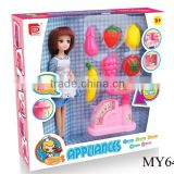 Hourswife barbie doll with kitchen set toy balance
