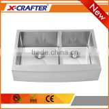 Customized hole rectangular brushed stainless steel double bowl handmade deep apron front sink