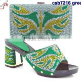 CSB7215 Top fashion multi-color green /pink lovely sandals match bags for indian african style leisure slippers /low sandals