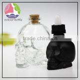 trade assuranc unique 15ml/30ml/50ml skull glass dropper bottle for eliquid with child proof cap and glass pipette