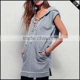 fashion blank sleeveless hoodies for ladies and custom tank top with hood                                                                         Quality Choice