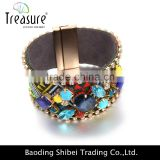 Ethnic China style woven acrylic rhinestone leather ribbon bracelet jewelry