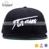 High quality leather brim 3d logo 6 panel snap back cap
