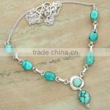 12.00ctw Genuine TURQUOISE & .925 Sterling Silver Necklace Jewelry Wholesale