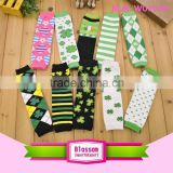 Hot sales! St. Patricks Day quatrefoil cotton wholesale baby legwarmers