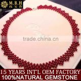 hot sale necklace hand made jewelry natural wine red color weaving garnet necklace factory whole sale