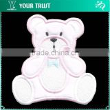 Pink White Sitting Puffy Satin Bear Iron-on Custom Embroidery Badge Patches