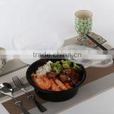 High quality food grade eco-friendly microwaveable & freezer 870ml black plastic bowl