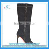 Good quality women sexy knee boots women leather high heel winter warm boots for bulk sale