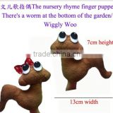 "2pcs/set The nursery rhyme finger puppets "" There's a worm at the bottom of the garden/wiggly woo "" JPtoys14070113"