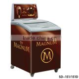 commercial curved glass top ice cream deep freezer display chest freezer mini ice cream freezers