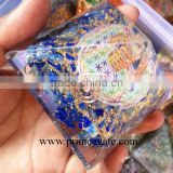Orgone Lapis Lazuli Flower of Life Chakra Pyramid With Charge Crystal Point | Orgonite for sale