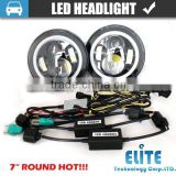 7 inch Round Led Headlight Assembly With 7 Inch Halo Angel Eyes, auto H4 Hi/Low DRL Led Headlamp Kit for Jeep Wrangler
