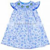Embroidery Children Clothing kids girls french blue smocked dress angel sleeves Baby Girls Dresses