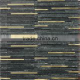 JY-G-114 Popular item mosaic black marble mix gold metal strips mosaic inside outside wall covering materials
