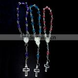Crystal section beads rosary,religious rosary ,Catholic AB color rosary necklace