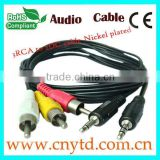 balanced audio cable nickel plated cable/dc to rca cable