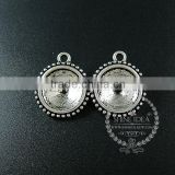 14mm setting size vintage alloy antiqued silver DIY pendant charm bezels tray 1411123