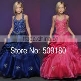 Halter Neck Beaded Floor Length Custom Made Vestidos Girl Ball Gown for Wedding FG037 girl-party-wear-western-dress