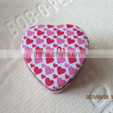 heart shape size90*90*40mm print tin box for cookies