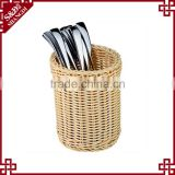 Restaurant or home used food testing plastic wicker woven cutlery holder