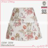 latest summer ladies fashion skirt hot sale A-line mini floral printed short skirt sexy office new design white skirt