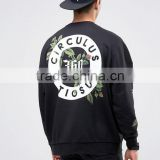 Fashion Design Black OEM Mens Oversized Sweatshirt with Printed Back & Sleeves Dropped Shoulder Crewneck Sweatshirt
